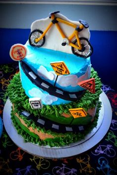 Bicycle Birthday Party Cake!   See more party planning ideas at CatchMyParty.com!