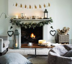 the comfort of simple decorations  gathered for the holiday mantel. Home and Delicious: white christmas