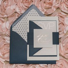 JESSICA Suite Cutie Package, rose gold foil stamping, navy and rose gold, polka dots, wedding invitation