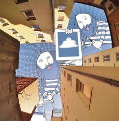 El límite es el cielo. Al menos, así era hasta que al artista francés Thomas Lamadieu aka Roots Art se le ocurrió hacer ilustraciones en los huecos de cielo que hay entre los edificios de las ciudades.