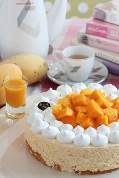 Vanilla Mousse Cake with Mango and Sauce