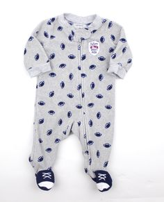 Newborn Infant Grey Fleece Sleeper with Football Motif by Carters, NB and Only $3.50 Online