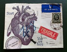 Original mail art - The Uses of Sorrow by Lara Irwin Love Mail, Sound Art, Going Postal, Mail Ideas, Decorated Envelopes, Amazing Art, Awesome, Snail Mail, Mail Art