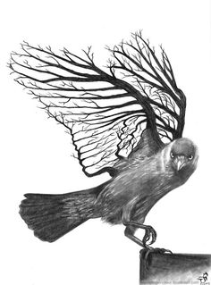 Unuque black-and-white raven with branched wings tattoo design Metamorphosis Tattoo, Wing Tattoo Designs, Raven Art, A Level Art, Ap Art, Gcse Art, Grafik Design, Surreal Art, Bird Art