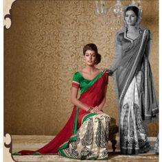 Red & Beige Bhagalpuri Silk Saree