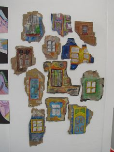 Based on the work of artist Ian Murphy, students dre. Based on the work of artist Ian Murphy, students drew old doors and win Oil Pastel Art, Oil Pastels, Decay Art, High School Art Projects, 8th Grade Art, Student Drawing, Ecole Art, Cardboard Art, Middle School Art
