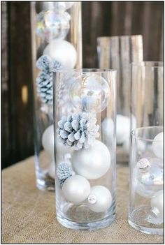 Winter Wonderland Baby Shower : Full Of Fun DIY Winter Decorating Ideas Winter has just begun and everybody is ready to welcome it by doing different decorations. Here are some beautiful diy winter decorating ideas for you to make your winter special. Winter Wonderland Decorations, Easy Christmas Decorations, Winter Wonderland Wedding, Winter Decorations, Winter Wonderland Christmas Party, Wonderland Party, Table Decorations, Baby Shower Winter Wonderland, Winter Party Themes