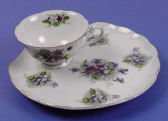 Vintage Lefton China Violets 2 Pce Snack Set 2124V Japan Cup Snack Plate | eBay