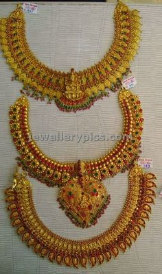 Latest Indian Jewellery designs and catalogues in gold diamond and precious stones Gold Temple Jewellery, Silver Jewellery Indian, Diamond Jewellery, Kerala Jewellery, Jewelry Design Earrings, Gold Earrings Designs, Jewellery Designs, Necklace Designs, Antique Necklace