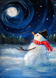 Snowman Gazes at Night Sky & Moon - Folk Painting - Holiday Card, Cristmas Card, Greeting Card, Winter Card, Snowman Card, Greeting Card, Postcard by Leah McNeir