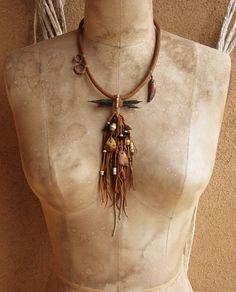 Aged Obsidian Needle Amulet Talisman Necklace by deserttalismans..