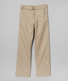 Loving this Khaki Pleated Pants & Belt - Boys on #zulily! #zulilyfinds $11.99, regular 24.00