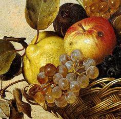 Caravaggio 'Basket of Fruit' (detail) c.1599 by Plum leaves, via Flickr