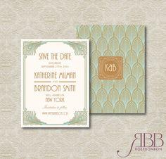 Printable Wedding Save the Date Invitation Art by RoseBonBonShop