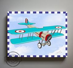 Kids Wall Art  Airplane Nursery Art  Vintage Airplane by MuralMAX, $51.00