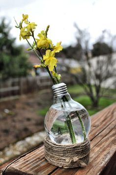 Twine wrapped base light bulb terrarium /vase