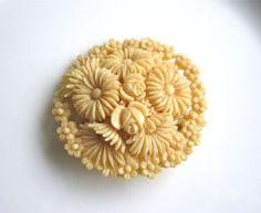 Antique Carved Ivory Floral Brooch