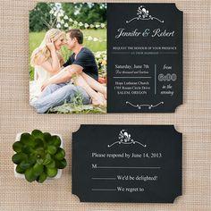 photo chalkboard wedding invitation ticket shape romantic chalkboard EWIr309