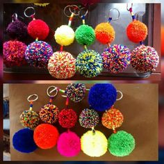 llaveros, wayuu,pom pom artesanales Arts And Crafts Projects, Diy And Crafts, Pom Pom Crafts, Baubles And Beads, Tassels, Crochet Earrings, Crafty, Keychains, Pom Poms
