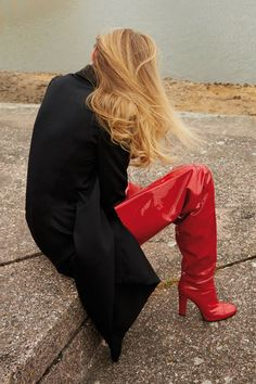 Major red boots. Georgina Grenville by Alice Rosati for Off Black, spring 2016 styled by Grace Joel