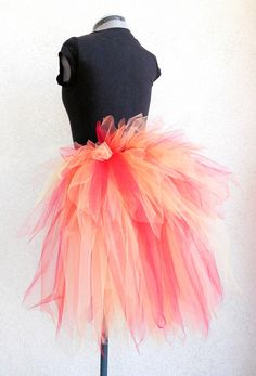 Fire Fairy Bustle - Women's Custom Sewn 3 Tiered Pixie Tutu Bustle - Up to 24 inches in length. $46.00, via Etsy.