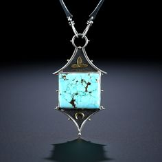 Metalsmiths Amy Buettner & Tucker Glasow. Nevada Blue Turquoise Centerpiece. Fabricated Sterling Silver and 18k. www.amybuettner.com