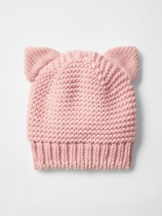 """diy_crafts- Cat metallic knit beanie Product Image """"This post was discovered by yas"""", """"Shop shoes for toddlers girls at Gap. Baby Hat Knitting Pattern, Baby Hat Patterns, Baby Hats Knitting, Beanie Pattern, Knit Patterns, Free Knitting, Knitted Hats, Diy Crafts Knitting, Knitting Projects"""