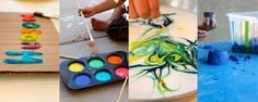homemade puffy paint, sidewalk chalk paint, shaving cream art, moon sand, bath paint, bubbles, crayons, box guitars, etc.