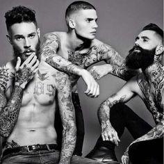Alternative cool, guys, males, men, beard, nude, tattoo, body art, ink, sexy, photo b/w.