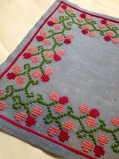 mid century modern woven vintage embroidered tablecloth in Hand Embroidery Videos, Bead Embroidery Patterns, Embroidery Works, Embroidery Monogram, Embroidery Transfers, Hand Embroidery Designs, Vintage Embroidery, Cross Stitch Designs, Cross Stitch Patterns