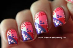 geometric nail design-pink, purple and red