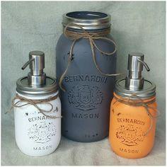 These beauties were made as a customer order. #kjcreations #orange #grey #white #masonjars Upcycling Projects, Orange Grey, Soap Dispenser, Mason Jars, Upcycle, Beauty, Soap Dispenser Pump, Beleza, Upcycling