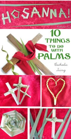 Not to rush through Lent, but this way you'll have it in time to study and prepare: 10 things to do with palms for Palm Sunday Catholic Lent, Catholic Crafts, Church Crafts, Catholic Icing, Catholic Traditions, Rosary Catholic, Easter Crafts, Holiday Crafts, Crafts For Kids
