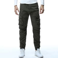 Macondoo Mens All-Match Elastic Waist Trousers Cotton Ankle Pure Color Pants
