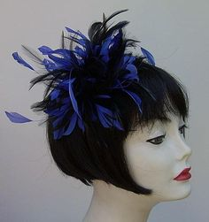 Black/ Royal Blue Fascinator for fun and fancy...a headband to fit every head size!