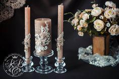 Wedding pillar candles pink cedar unity candles by RusticBeachChic