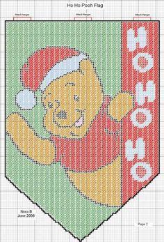 HO HO POOH FLAG by NORA B. - WINNIE THE POOH CHRISTMAS HANGING