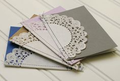 Mini Wedding Programs: Sewn Doily Programs with Custom Colors, Pocket-Sized Sweetness for Shabby Chic or Vintage Wedding