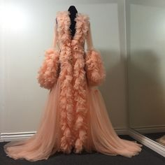 "Image of ""Lucille"" Sheer Peach Ruffled Dressing Gown (pre-order!)"