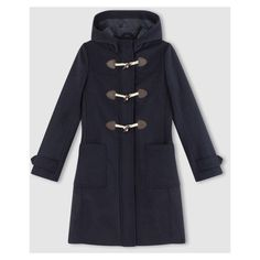 Mens black hooded duffle coat