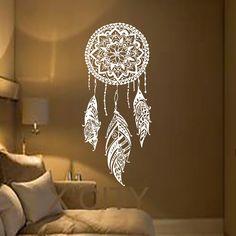 Dream Catcher Art Feather Vinyl Sticker Boho Dreamcatcher Wall Decals for Bedroom Nursery Bohemian American Indian Amulet