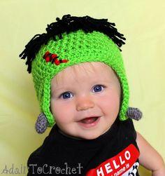 Halloween Ear flap Hat. Frankenstein by AdairToCrochet on Etsy, $15.00