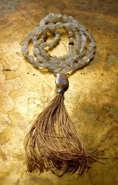 Beige bohemian necklace Neutral color boho long necklace Large baroque pearl Fancy mala beads Luxury moonstone mala Gold tassel Unique mala