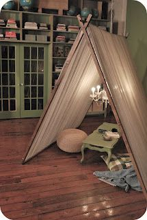 Oh My Goodness...teepee reading nook. I have to make one. It's an emergency!
