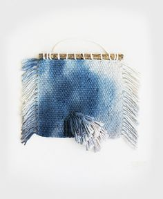 Hand Dyed Indigo Watercolor Weaving Wall Hanging by hellohydrangea