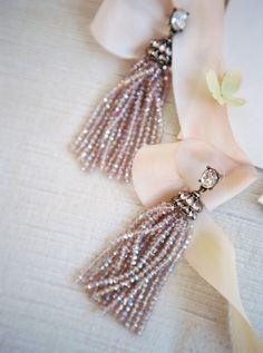 diamond tassel beaded earrings