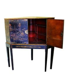 Chinoiserie Corner Cabinet on Stand with fitted red interior, c.1810