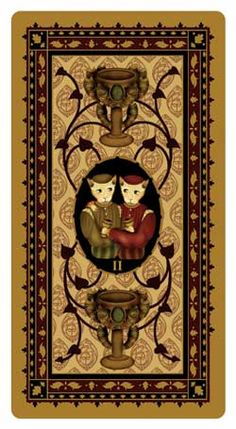 Two of Cups, Medieval Cat Tarot