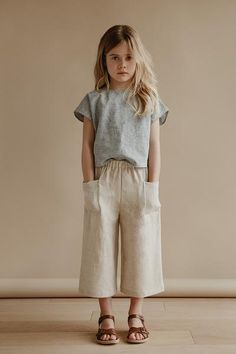 cecile culottes in oatmeal with lou shell top in stripe kids fashion, kids style, casual su. Girls Summer Outfits, Baby Outfits, Girls Dresses, Kids Fashion Summer, Girls Fashion Kids, Boy Fashion, Trendy Fashion, Cute Kids Outfits, Fashion 2016