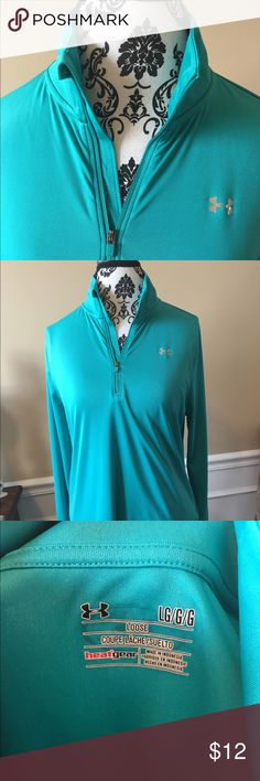 Teal Under Armour quarter zip Like new. So large Under Armour Tops Sweatshirts & Hoodies